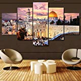 Islamic Canvas Pictures of Hajj Pilgrimage to Kabah Large Wall Art Jerusalem Modern Muslim Artwork-5 Panel Prints Giclee for Living Room Home Decor Wooden Framed Stretched Ready to Hang(60''Wx32''H)