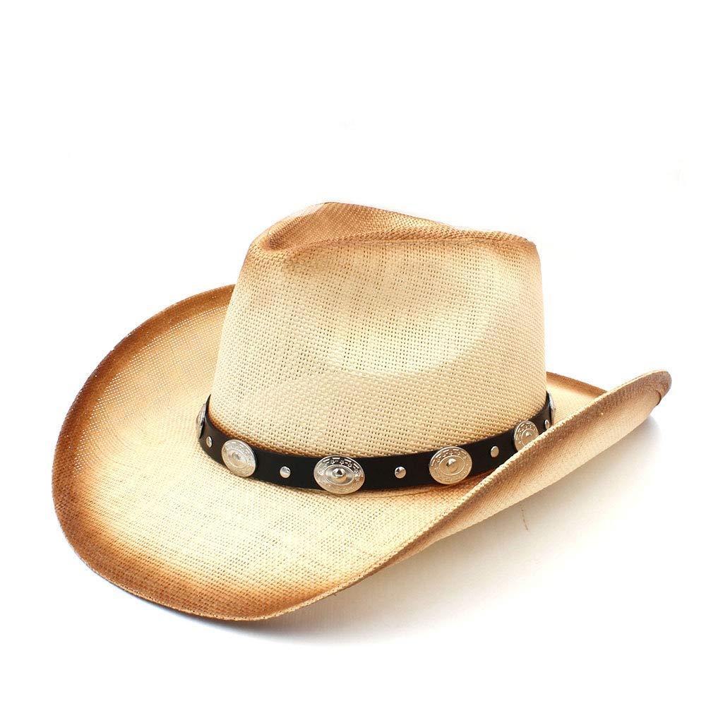 HYF Cappello da Cowboy Uomo Donna con Cinturino in Pelle per Lady papà Sombrero Hombre Occidentale (Colore : Naturale, Dimensione : 58 Centimetri)