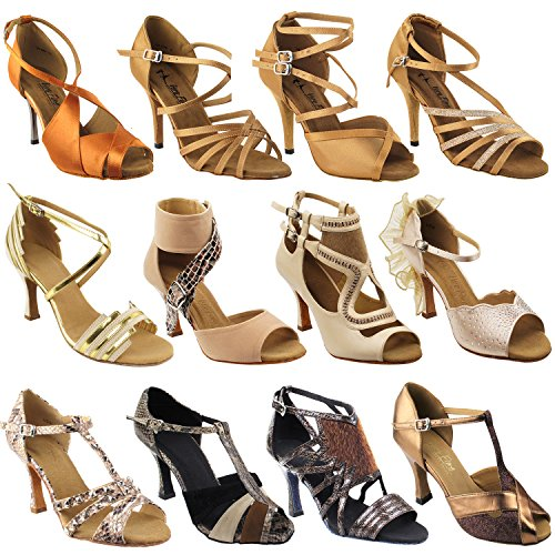Club Wedding Shoes Dress TAN 1613 Ballroom Collection Salsa Brown Satin 50 II of Shades Dance wP1xygXvq