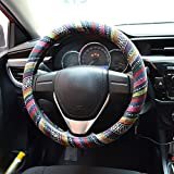 FLY5D®Universal Automotive Steering Wheel Cover Natural Fibers Auto Car Wrap Cover