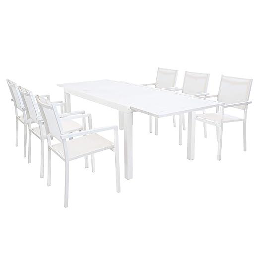 Tavolo Esterno Allungabile Bianco.Set Tavolo Giardino Allungabile Rettangolare 160 240 X 90 Con 6