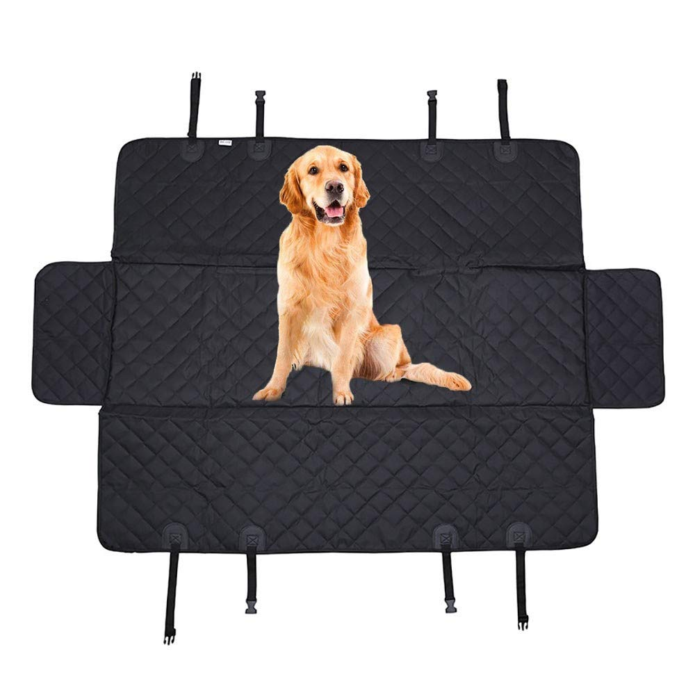 A Dog Car Seat Covers,600D Oxford Cloth Waterproof Durable Anti-Scratch Nonslip Back Seat Pet Predection Dog Trip Hammock with Mesh Window and Side Flaps Dog Seat Cover