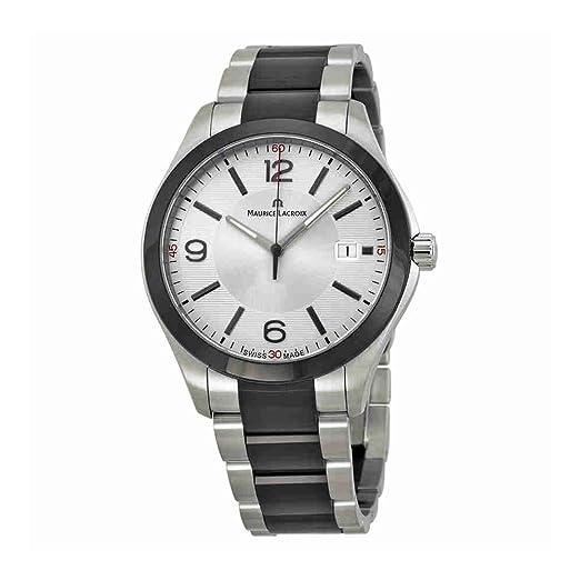 Maurice Lacroix Miros Hombre Plata Dial Negro PVD Acero inoxidable reloj MI1018-SS002 - 131: Maurice Lacroix: Amazon.es: Relojes