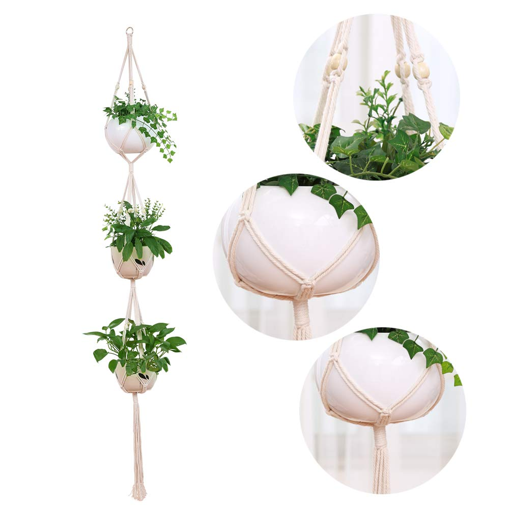 DxJ 3 Pack Macrame Plant Hanger Indoor Outdoor Hanging Plant Holder Hanging Planter Stand Flower Pots for Decorations - Cotton Rope, 4 Legs, 3 Sizes