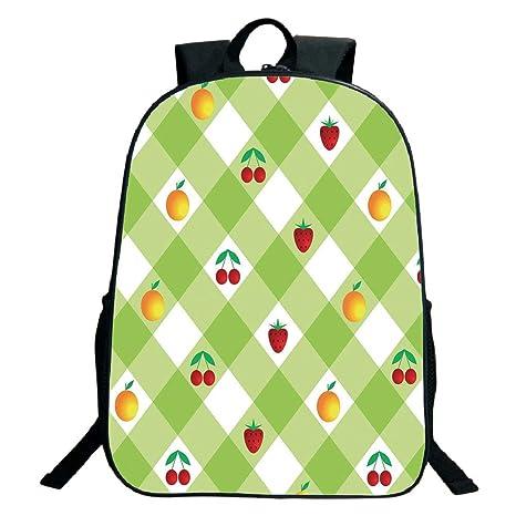 a657c2f7d48f Amazon.com: 3D Print Design Black School Bag,backpacksCheckered ...