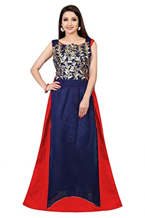 B R Fashion Women\'s Georgette Traditional Gown (2222 Red): Amazon.in ...