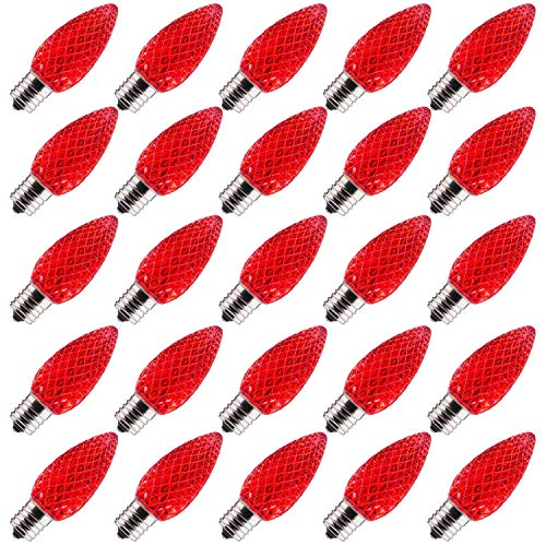 C9 Red LED Bulb, C9 Replacement Bulb, E17 Candelabra Base Lamp, C9 Christmas Light Bulb, Dimmable, 25 Pack ()