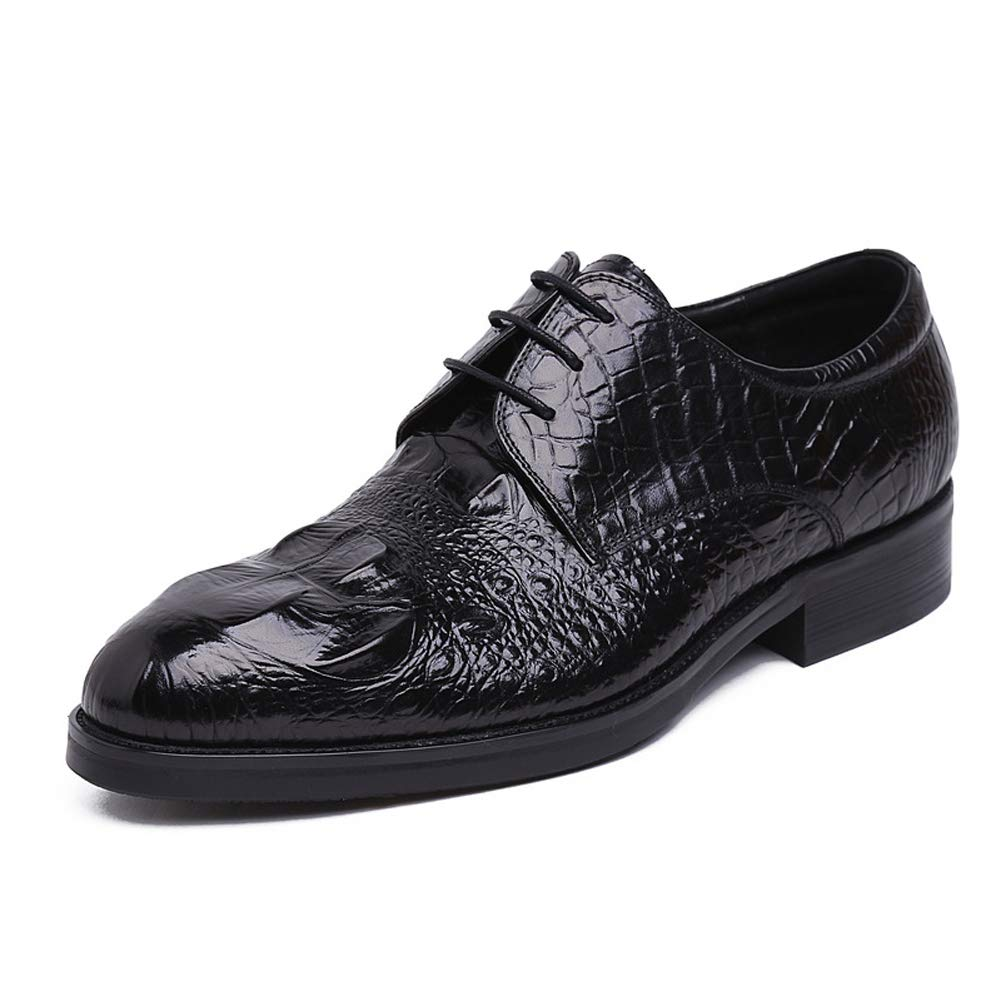 svart herr herr herr Derby skor Crocodile Texture Lace -up Flats Round Toe Formal skor Business skor Dress Gentleman skor Executive skor for Dating  100% prisgaranti