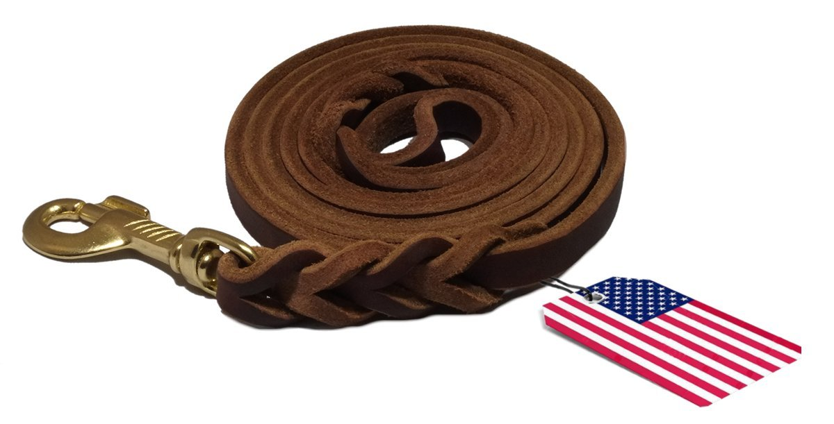 100% Natural Leather Dog Leash, Training Lead, Heavy Duty Leash for Large/Medium/Small Dogs / Pets - Dark Brown, Made in USA