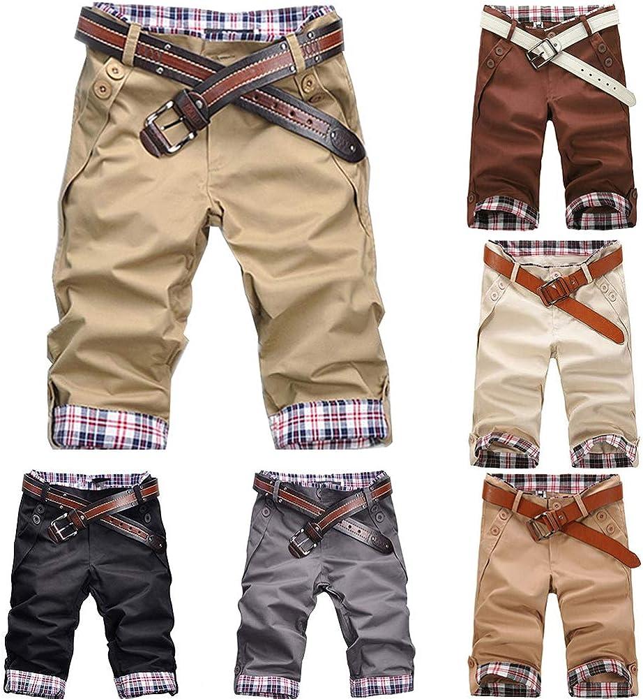 Amazon Com Fashion Men S Shorts Summer Beach Casual Men Plaid Patchwork Turn Up Cuff Shorts Fifth Pants Trousers Khaki Clothing