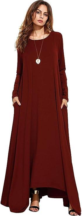 TALLA XL. NASKY Vestidos Mujer Manga Larga Otoño 2019 Maxi Largos Boho Cuello V Vestido Casual de Playa con Bolsillo Vino Rojo XL