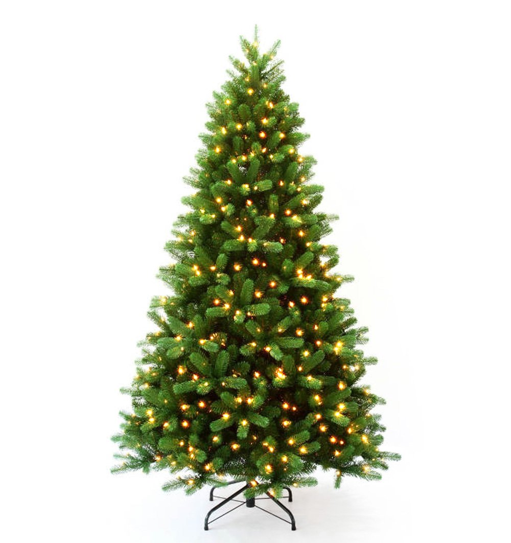 Transcontinental Group Pre-Lit Rocky Mountain Trees and Garland, 7-Feet 6-Inch, 600 Clear Lights