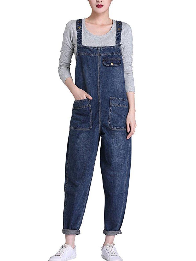 Sobrisah Women's Casual Baggy Fit Denim Bib Cropped Harem Romper Jumpsuit Pants Overalls Trousers with Pockets Denim Fit