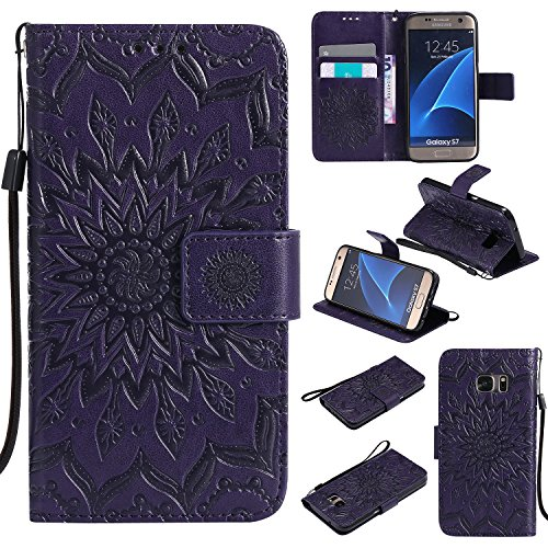 Ropigo Emboss 3D Sunflower Wallet Case for Samsung Galaxy S7 Flip Leather Protective Case with Wrist Strap,Magnetic Closure,Credit Card Slots Holder,Kickstand Function Purple