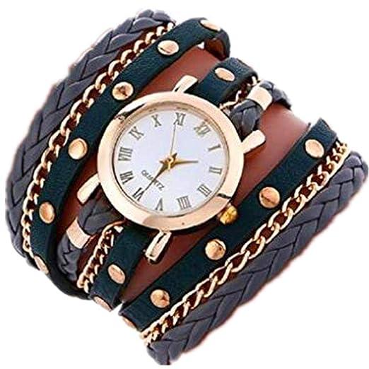 Relojes de Pulsera para Mujer Liquidación Relojes de señora Relojes Femeninos de Cuero en Oferta Relojes (Gris): Amazon.es: Relojes