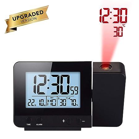 Houkiper LED Display Projector Clock con Retroiluminación con Pilas Gire Reloj Despertador para el Dormitorio en el Hogar (Black)