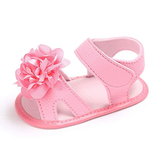 082d859161f6 Image Unavailable. Image not available for. Color  Toddler Girl Crib Shoes  Newborn Flower Soft Sole Anti-Slip Baby Sneakers Sandals ...