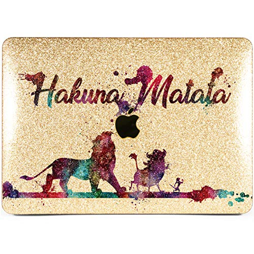 Lex Altern Glitter MacBook Case Pro 15 inch Air 13 Retina 12 11 Disney Hakuna Matata 2018 Gold Crystal Hard 2017 Mac Glossy Cover Apple Lion King 2016 Funny Laptop Protective Shell Girly Print 2015