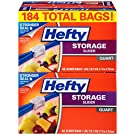 Hefty Slider Storage Bags - Quart Size, 4 Boxes of 46 Bags (184 Total)