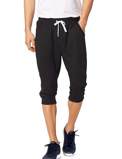 580d7ff40f Baleaf Men's 3/4 Workout Joggers Capri Pants Running Training Side Pockets  Black Size XS