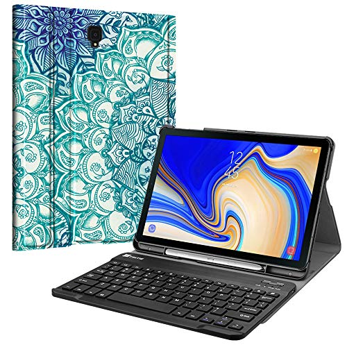 Fintie Keyboard Case for Samsung Galaxy Tab S4 10.5 2018 Model SM-T830/T835/T837, Slim Shell Lightweight Stand Cover with Detachable Wireless Bluetooth Keyboard, Emerald Illusions