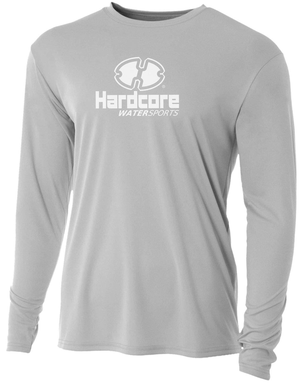 Men's Long Sleeve Loose Fit Rash Guard Surf Shirt Water Sports Swimwear Silver by Hardcore Water Sports
