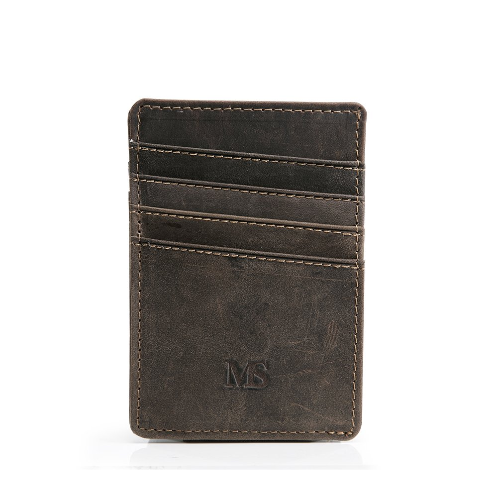 Teemzone Genuine Leather Money Clip Front Pocket Wallet with Magnet Clip Card Id Case Brown