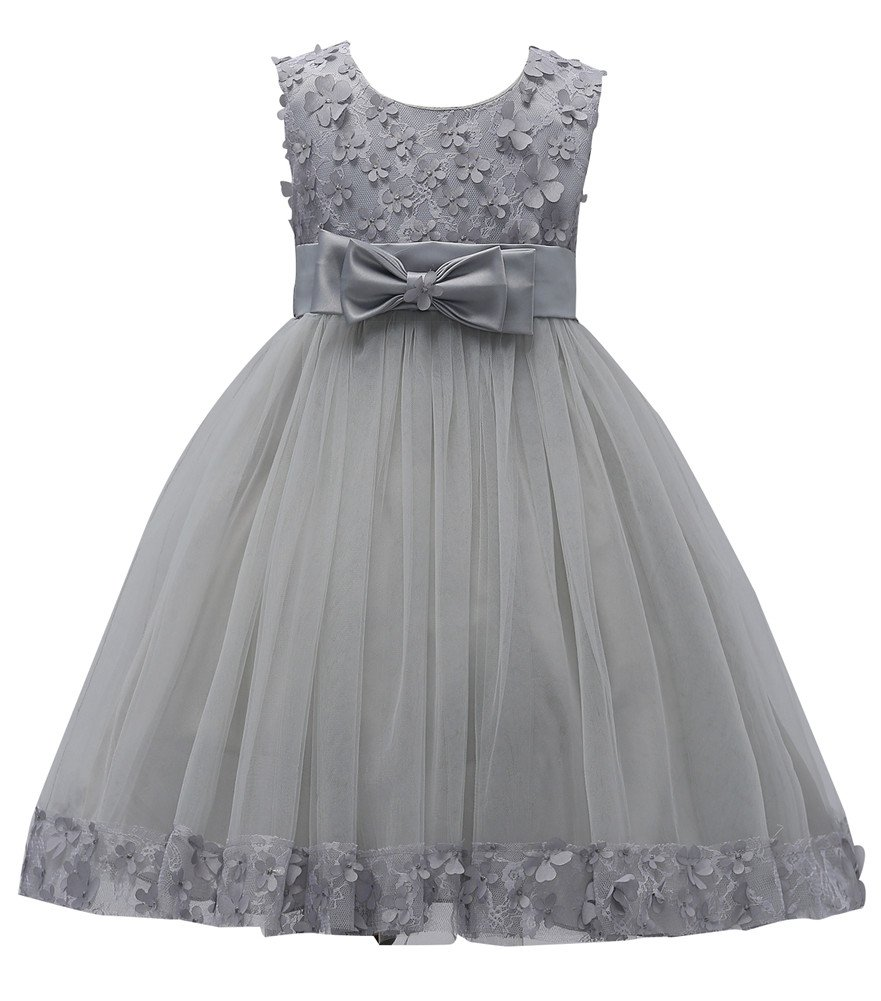 WEONEDREAM Bridesmaid Dresses for Girls 8 9 Years Knee Length Size 7-16 Big Girls Kids Children Lace Tulle Tutu Ball Gowns Special Occasion Tops Girl Dresses Size 9 Under 25 (Grey, 12)