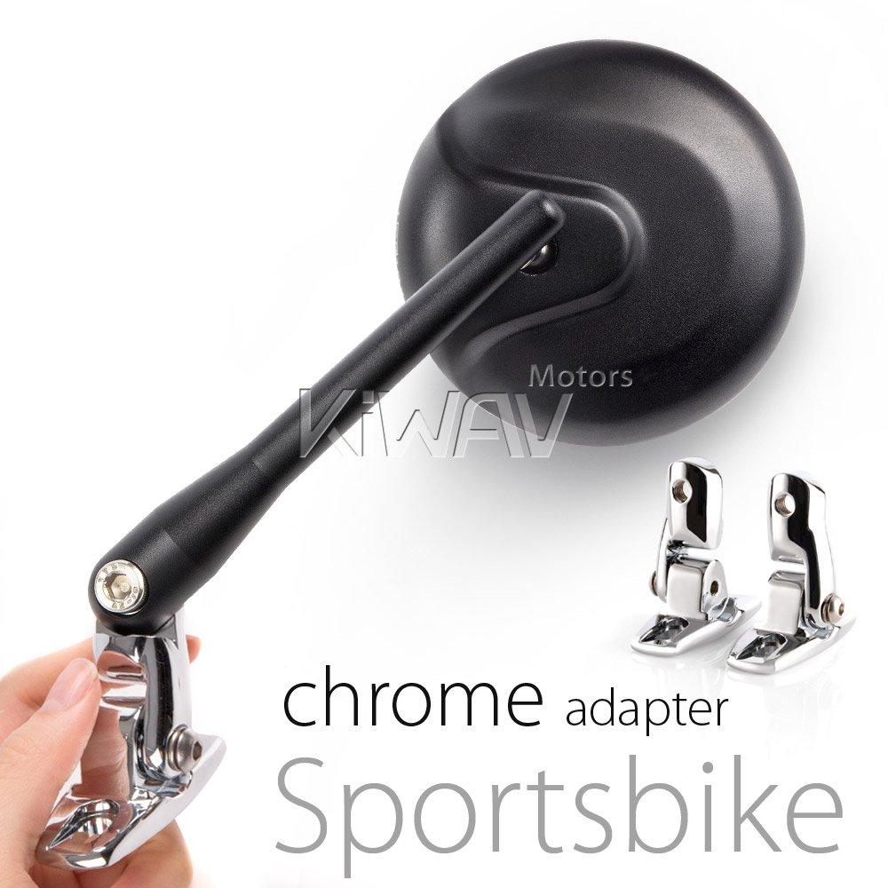 KiWAV Magazi Round black retro style mirrors for sport bike with chrome adapter by KiWAV (Image #6)