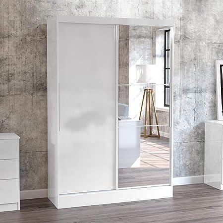 Happy Camas Lynx 2 Puertas correderas Armario con Espejo Madera Dormitorio Muebles de Almacenamiento: Amazon.es: Hogar