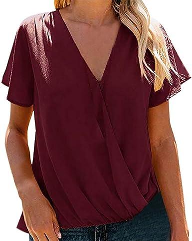 AIFGR Camisa de Mujer Damas Camisa de Manga Corta con Cuello en V Blusa sólida Tops(Vino, M): Amazon.es: Ropa y accesorios