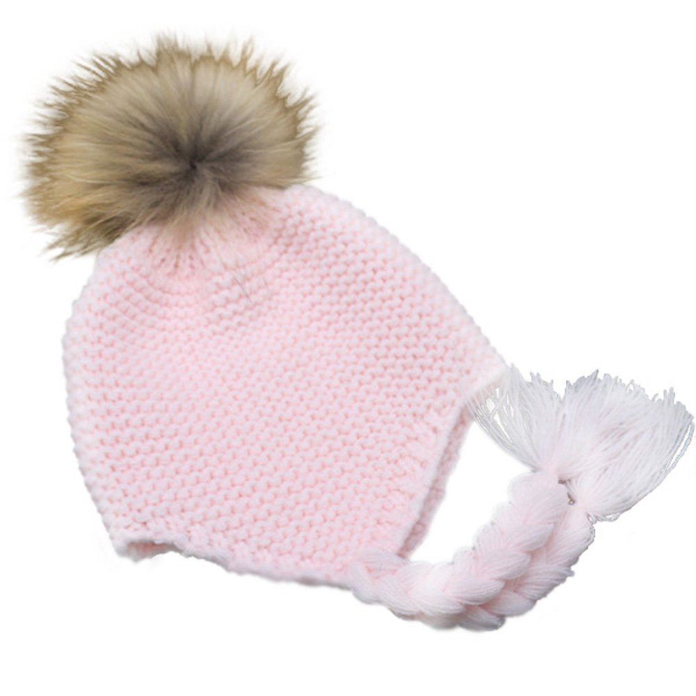 Made with Real Fur Childrens Unisex Outdoor Warm Stylish Winter Beanie Hat with Detacahable Pom Pom