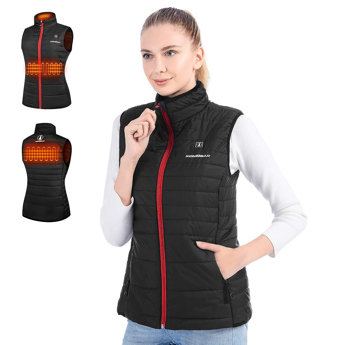 CLIMIX Women's Heated Vest, Lightweight Water Resistant Vest with Battery Pack Black by CLIMIX