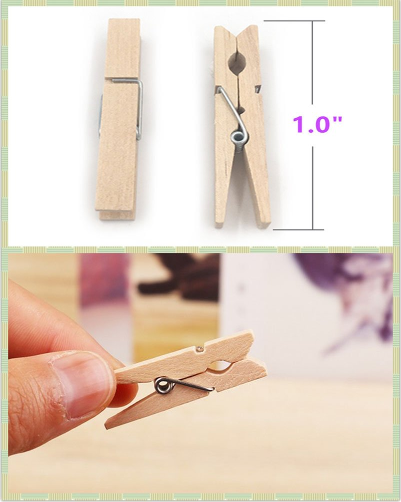 Mini Clothespins Mini Size 1.0 inch for Home Arts Crafts Decor by aHeemo Multi-Function Clothespins Photo Paper Peg Pin Craft Clips 200 Pcs Mini Colored Natural Wooden Clothespins with Jute Twine