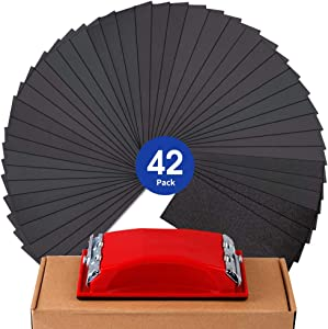 """Sandpaper Assortment Girt 120 to 3000 Sand Paper with Sanding Block Sander, Wet Dry Variety Pack Abrasive Sandpapers for Wood Automotive Car Furniture Metal Polishing Finishing, 9?3.6"""", 42 Sheets"""