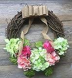 StickerLoveDecal 18'' Hydrangea All Year Around Door Wreath Hydrangea Blooms Green Coral Pink Front Door Wreath Everyday Wreath Grapevine Door Wreath Spring Summer Year Around swh90