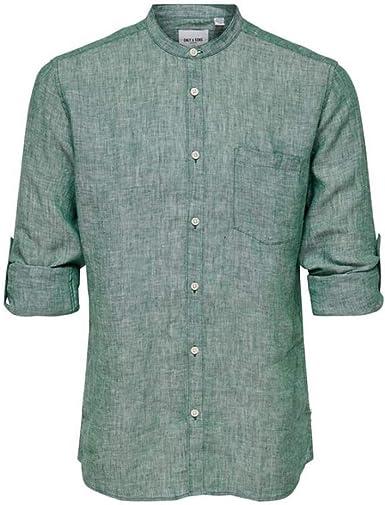 Only & Sons Camisa para Hombre Collar Coreano en Lino Verde 22013259-POSYGREEN: Amazon.es: Ropa y accesorios