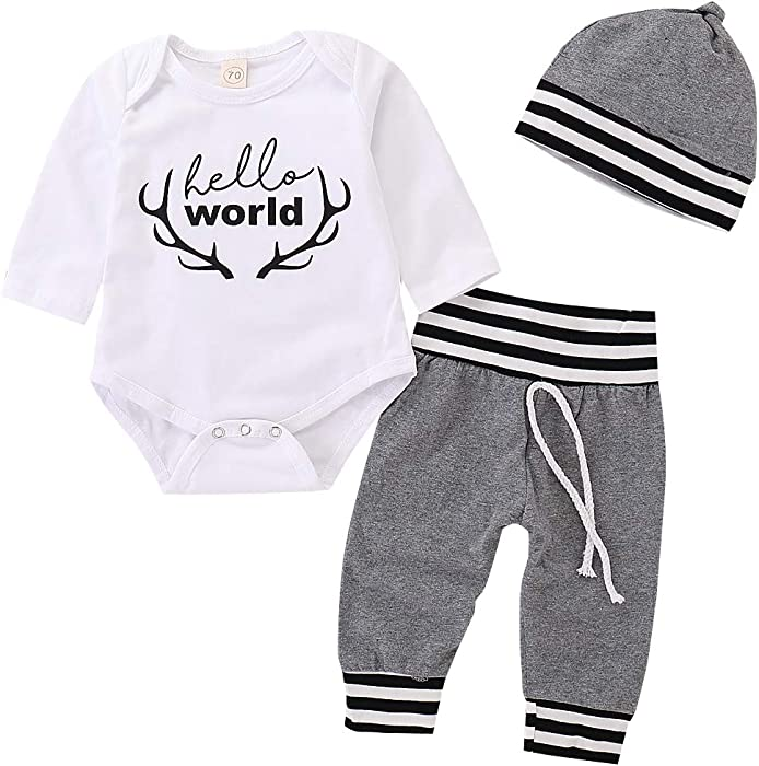 202b532e5 Amazon.com  Infant Unisex Baby Christmas Outfits Set Long Sleeve ...