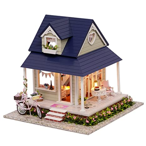Amazon com: Mcitymall66 Wooden Kids Mini DIY Cabin Dolls