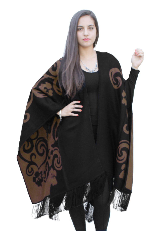 Superfine Reversible Woven Alpaca Wool Cape Ruana Poncho Wrap One Size (Black/Brown)