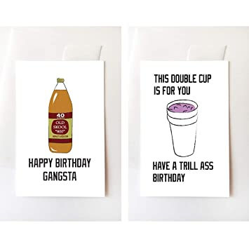 df4a3c29cecff Amazon.com : 40 oz Beer & Double Cup Happy Birthday Greeting Card ...