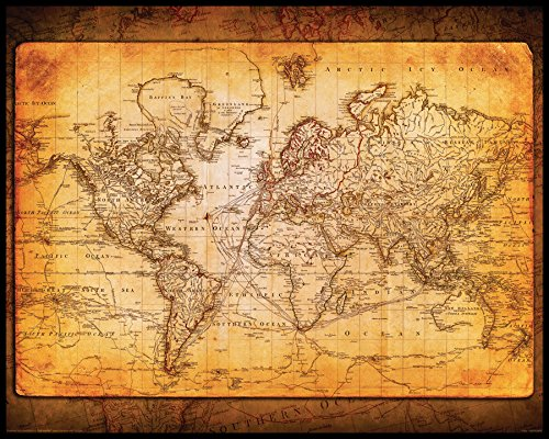 (Culturenik World Map Antique Vintage Old Style Decorative Educational Poster Print, 16x20 Framed)