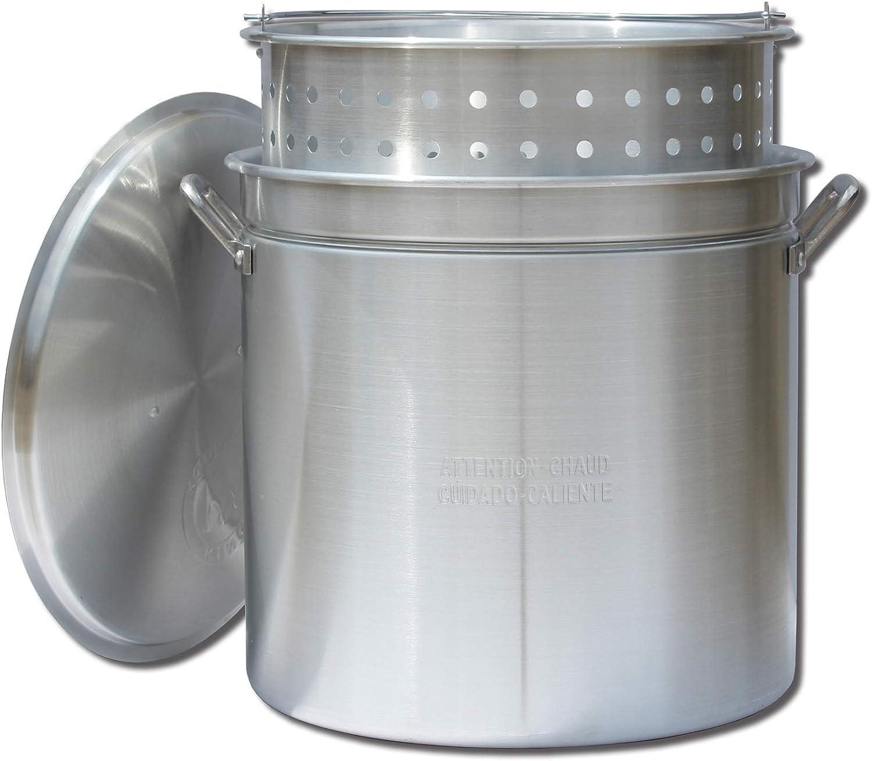 King Kooker KK60R Aluminum Pot with Basket and Lid, 60-Quart