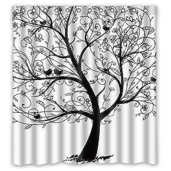 Custom Waterproof Fabric Bathroom Shower Curtain Life Trees