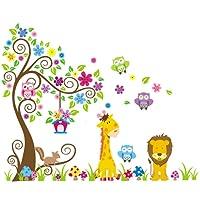 Rainbow Fox bambino albero Adesivo da parete scimmia gufo elefante Vinile adesivi da muro per asilo nido decorazione