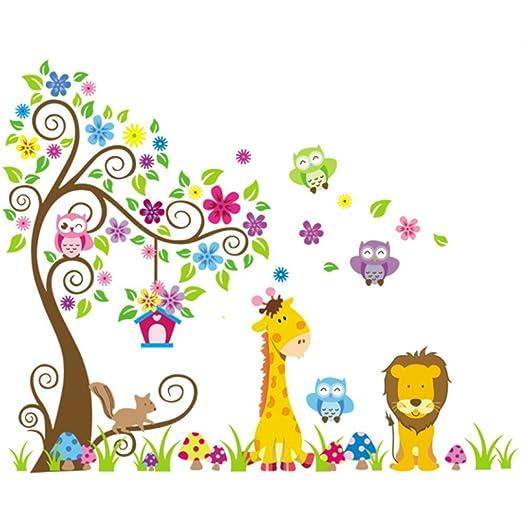 164 opinioni per Rainbow Fox Albero Fiore Colorato Simpatici Gufi Leone Cervo Adesivi Murali,