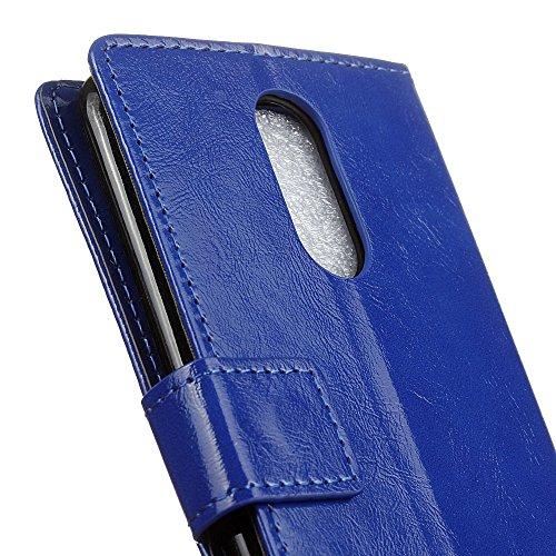 Lusee® (sólo para versión europea) PU Caso de cuero sintético Funda para LG K4 2017 5.0 Pulgada Cubierta con funda de silicona botón caballo Loco patrón azul