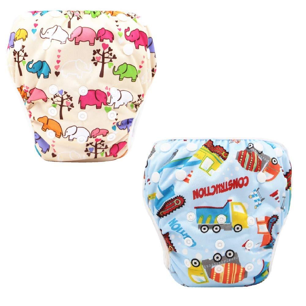 Baby Schwimmwindel 2 tlg Elefant+Wagen f/ür Junge M/ädchen wiederverwendbar Badewindel Badewindelhose f/ür 1-2 Jahre 3-15kg