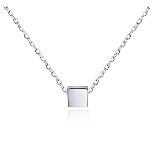Amazoncom Sleaf Simple Floating Square Pendant Necklace Silver