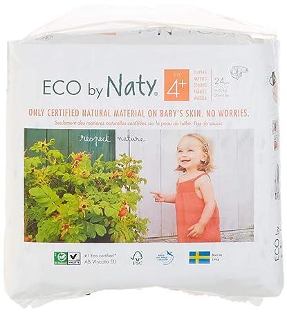 Pañales desechables Eco by Naty Premium para piel sensible, talla 4+, 9-
